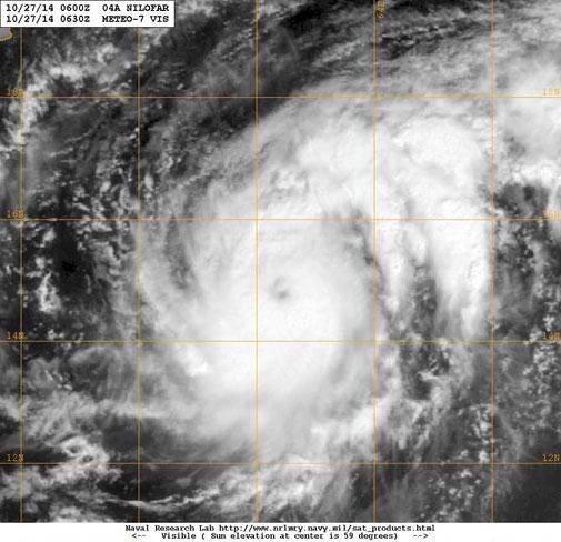 Cyclone Nilofar forms in Arabian Sea