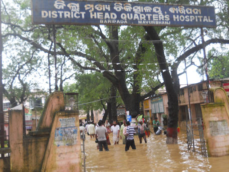 Flooded district hospital in Baripada town