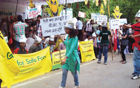Activists protest against genetically modified crops
