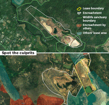 (Above) A mining site without licence near Netravali Wildlife Sanctuary, Goa. (Top) A mine owned by Chowgule and Co dumps overburden outside lease area
