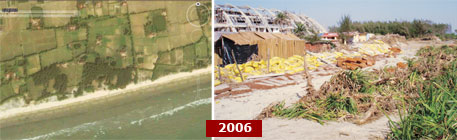 (Clockwise from top): A 2003 Google image shows the once-serene Mandarmani; building of resorts started around 2006;