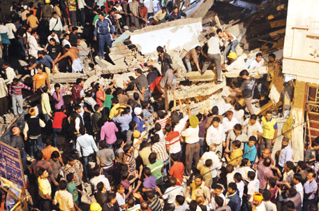 A house in Delhi that had foundation for single storey fell after six storeys were added to it