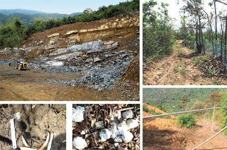 Encroaching on tiger territory: (Clockwise from top left) Stone quarry near a rubber plantation in Sindhudurg 3; Nets and barbed wires fence off rubber plantations; Electric fence separates rubber from forest, hindering wildlife movement; Tiger scat and pug mark in the catchment area around Tillari dam