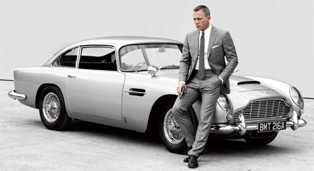 James Bond with his favourite Aston Martin car