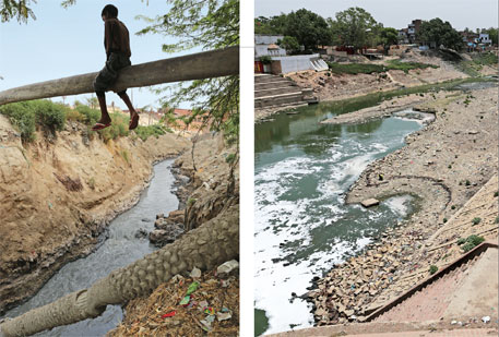 Chemical-laden Wazidpur drain in Kanpur causes health problems among residents; Varuna river in Varanasi has turned into a drain and has a dumpyard along its bank