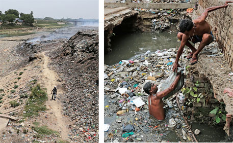 Safai Karmacharis declog Sesamau drain in Kanpur every morning, but the garbage is pushed back into the drain by the afternoon