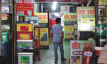 Solar equipment stocked at a bylane in Patna's Exhibition Road