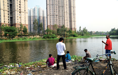 Owing to encroachments, Bikramgarh Jheel in the heart of Kolkata has shrunk from six hectares to three.