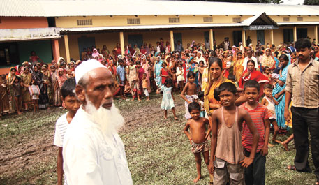 Madrasa of Chatipur village turned into a relief camp after 3,000 people from across Chirang district took shelter there