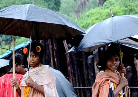 In an act of solidarity, Dongria Kondh women came from faraway villages and stood outside the Palli Sabha venue