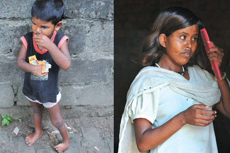 Bindu Kumari, 16, of Dibulganj is mentally challenged and speechimpaired; (Left) Three-and-a-halfyear- old Ragini of Obra was born with deformed hands and legs