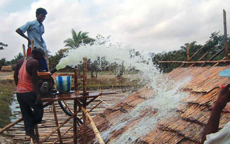 reedmud roof and wall for the Sundarbans house: resistant to water under force