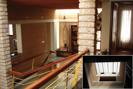 A house in Bengaluru built by Deepak Godhi with compressed earth blocks instead of bricks; (right) skylights minimise use of electricity