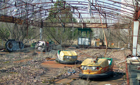 Abandoned bumper cars in Chernobyl's exclusion zone