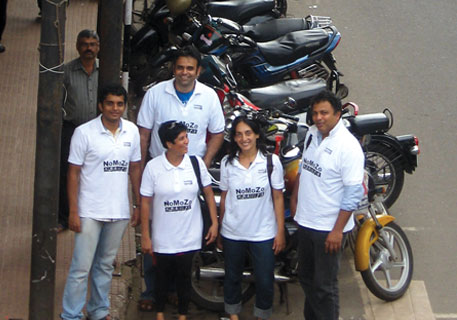 Volunteers of the group Aamchi Panaji, the key mover behind the Non-Motorised Zone (NoMoZo) initiative, stand at a crossing on 18th June Road.The group consists of entrepreneurs, environment activists and IIT graduates.