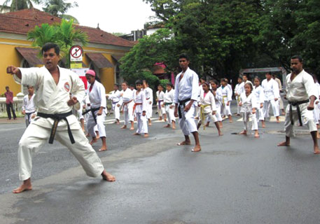On a NoMoZo morning,  karate students demonstrate moves, volunteers make art