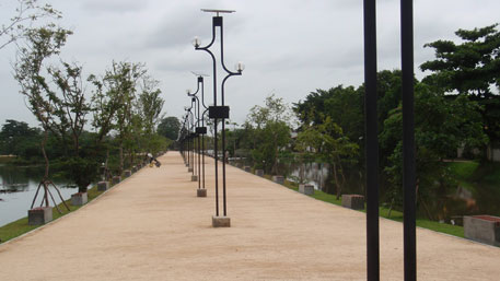 The Welli Park opened to public in January 2013. Lighting arrangements for the Wetland Park and walkways are powered by solar panels