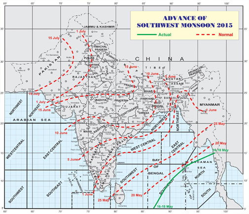 Map showing the advance of south-west monsoon 2015. (Courtesy- India Meteorological Department)