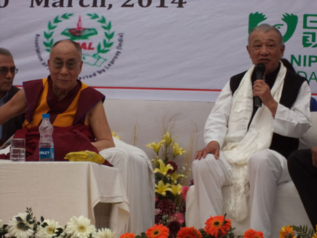 Sasakawa with the Dalai Lama at a function in Delhi on Thursday where the spiritual leader interacted with leprosy patients