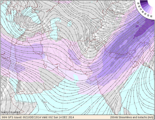 GFS weather map showing atmospheric conditions at an altitude of 38,000 feet above the ground (Courtesy: NCEP/COLA)