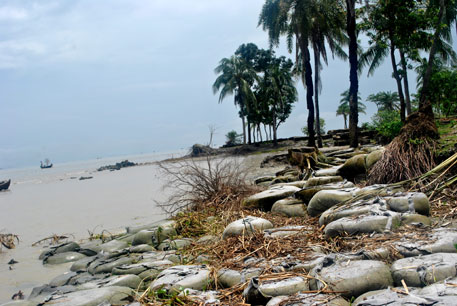 Sandbags used to prevent erosion in Charfasson sub-division in Bhola