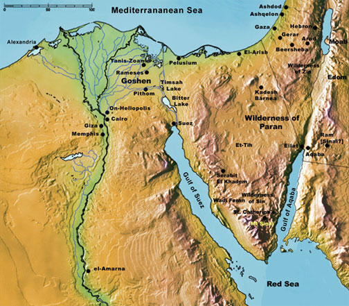 Map of the Sinai Peninsula that has a coastline of almost 6oo kilometers