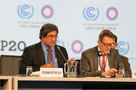 ADP Co-Chairs Kishan Kumarsingh, Trinidad and Tobago, and Artur Runge-Metzger, EU (Photo courtesy IISD)