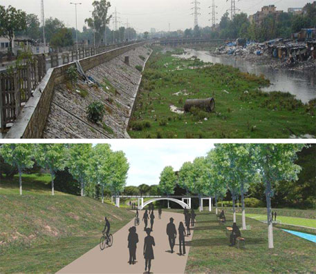 The Barapulla drain as it looks now (above) and artist's impression of how it will look after the project gets implemented (Courtesy UTTIPEC)