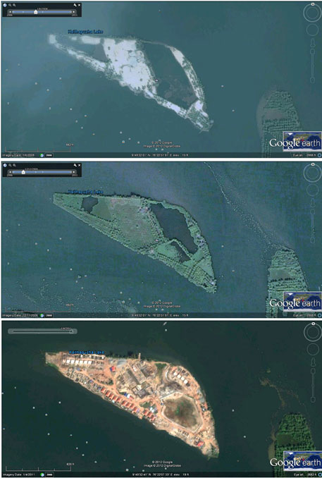 Google map shots taken at different points of time show the land filling undertaken for construction of the resort