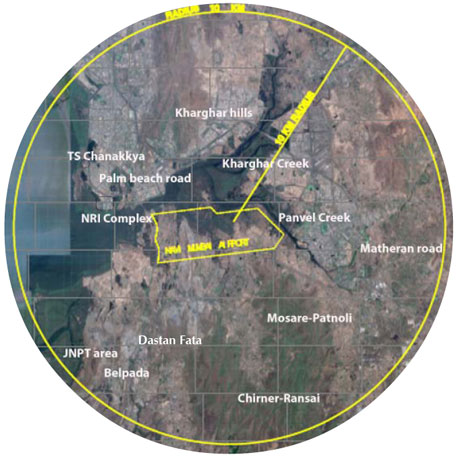 The second quarterly report of BNHS on avifaunal study has a google earth map showing a 10 km radius around the proposed airport. But it does not indicate the presence of the Karnala Bird Sanctuary