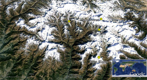 Glacier change in the Everest region