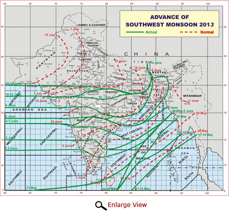 The Northern Limit of Monsoon (NLM) on 14th June 2013 passes through Lat. 25°N / Long. 60° E, Lat. 25° N / Long. 65° E, Udaipur, Guna, Satna, Ranchi, Berhampore, Jalpaiguri and Gangtok.