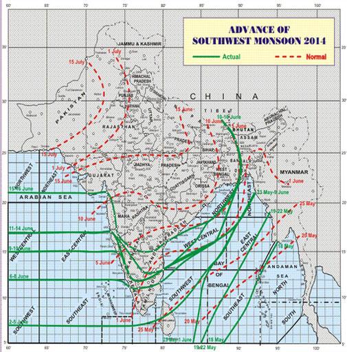 Monsoon's bizarre progress