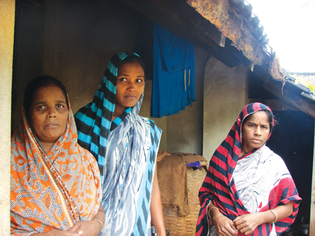 Kuntala Naik (left) of Rautabhuin village in Cuttack with her sisters-inlaw. All of them have lost their husbands to chronic kidney disease
