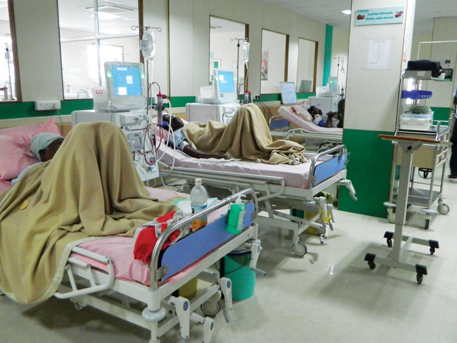 Patients undergo dialysis at government hospital in Ongole, Andhra Pradesh. State government provides dialysis facilities in all district headquarters. Even this fails to meet the demand
