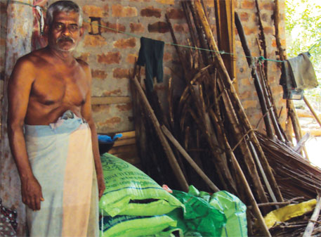 R Premadas, a 60-year-old CKDu patient from Dolakanda village in Dehittakandiya division of Sri Lanka, uses phosphate fertiliser in his farm. Scientists say cadmium in the fertiliser could be causing the disease