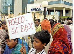 Anti-POSCO group attacked, police cordon villages
