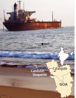 Ship erodes Goa beach