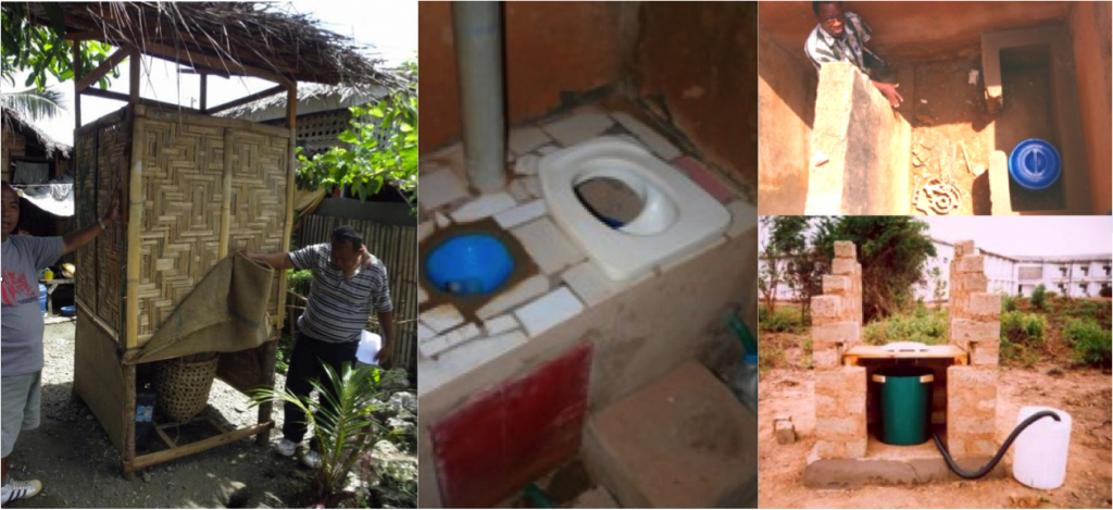 Left: Low-cost, single-vault urine-diversion dehydration toilet in Libertad, Misamis Oriental, Philippines. Source: WAFLER (2010). Centre and top right: Construction of a single-vault UDDT in Burkina Faso. Source: CREPA 2007. Bottom right: single-vault urine-diversion dehydration toilet under construction in Zambia. Source: CREPA (2007).