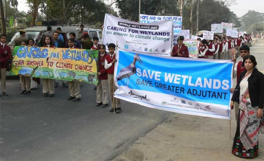 A street rally on World Wetlands Day in Guwahati aimed at increasing Greater Adjutant conservation awareness. Credit: Rathin Barman