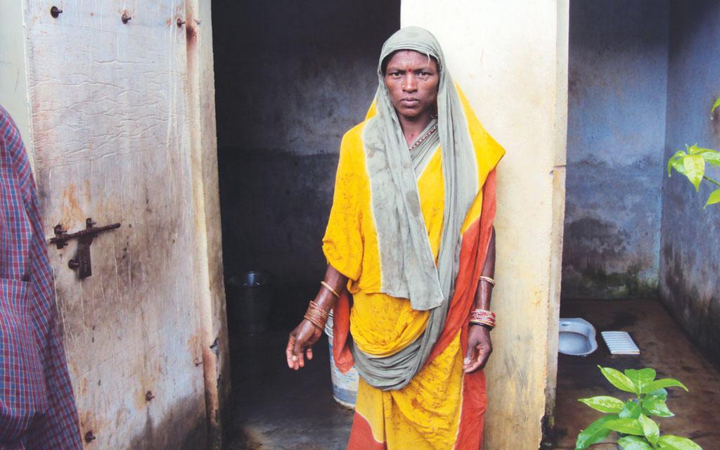 The twin-pit toilet of Gaurabhi Sabar from Tamana village produces enough manure for her kitchen garden (Photo: Rashmi Verma)