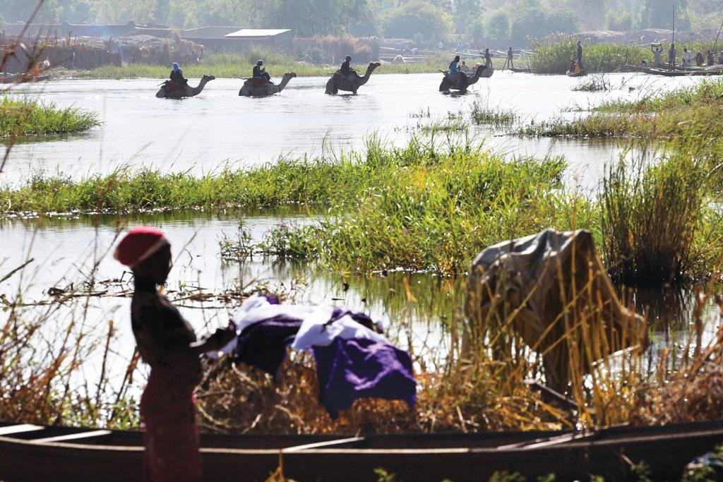 The depth of Lake Chad has