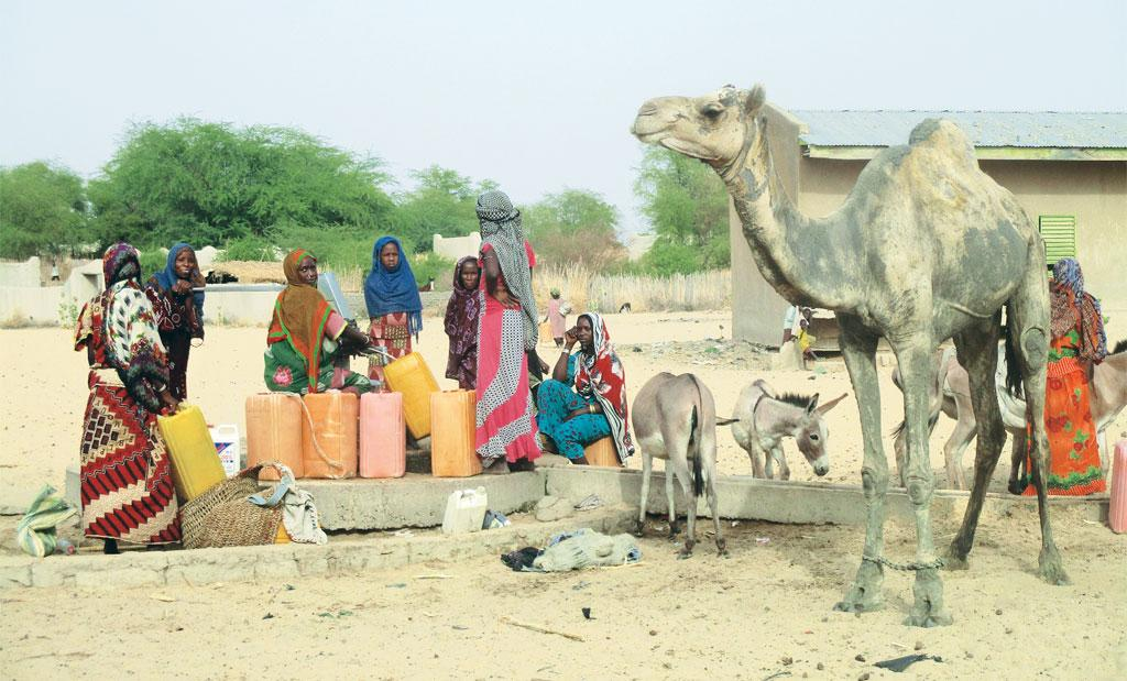 Women stand in what used