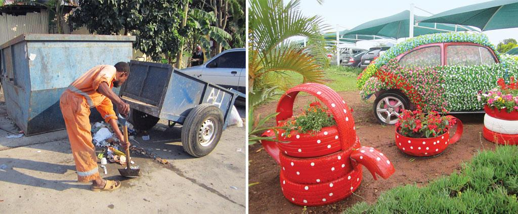 In Zanzibar (extreme left), authorities collect only 40 per cent of garbage. Local urban bodies in Swaziland create displays out of waste to promote a culture of recycling  (Photographs: Swati Sambyal)