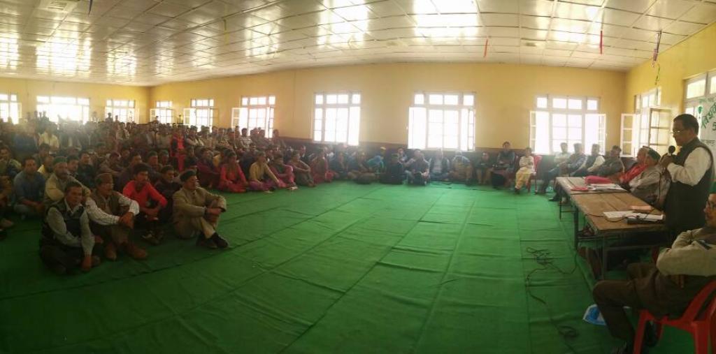 A public meeting of close to 1,000 people from various villages in Kinnaur was held at Ambedkar Bhavan. Credit: KVASS