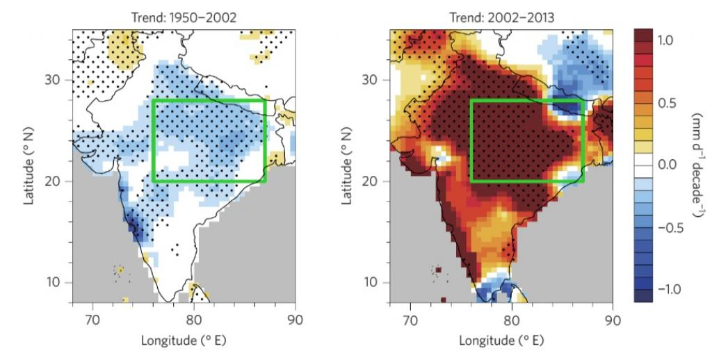 (Left) Drying trends observed in north central India and other regions. (Right) Increase in precipitation. Credit: Qinjian Jin and Chien Wang / Nature Journal