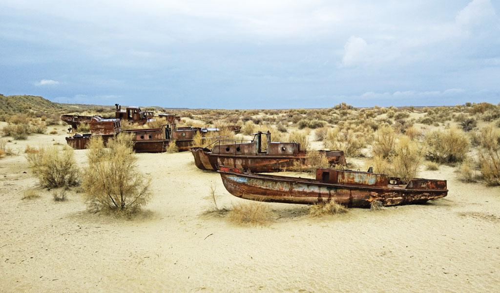 The sea near Nukus in western Uzbekistan now houses a graveyard of ships