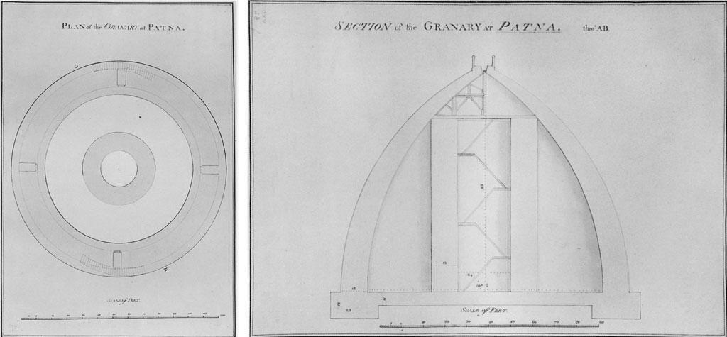 ब्रिटिश लाइब्रेरी में संरक्षित पटना स्थित गोलघर के निर्माण के पूर्व जॉन गार्सटिन द्वारा बनाया गया संरचनात्मक रेखाचित्र। इसी के आधार पर गोलघर  का निर्माण  किया गया (स्रोत: डब्ल्यूडब्ल्यूडब्ल्यू.आर्किटेक्सचरेज.नेट)