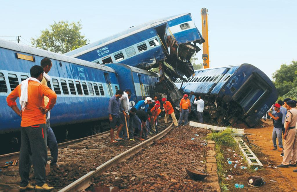 23 people died after 13 coaches of the Haridwar- Kalinga Express  got derailed on August 19, 2017, at Khatauli in Uttar Pradesh (Photo: Reuters)