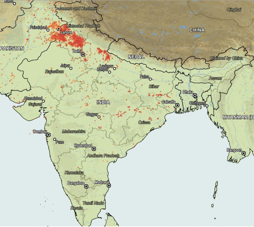 Satellite image between Oct 13 and 15 shows biomass fires over southern Tamil Nadu, Gujarat, Rajasthan, Madhya Pradesh, Odisha and West Bengal. Credit: NASA
